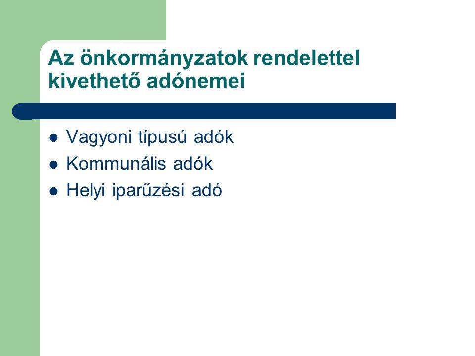 Az önkormányzatok rendelettel kivethető adónemei Vagyoni típusú adók Kommunális adók Helyi iparűzési adó