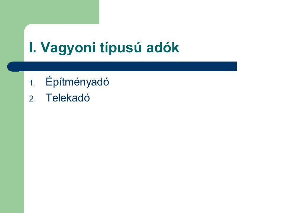 I. Vagyoni típusú adók 1. Építményadó 2. Telekadó