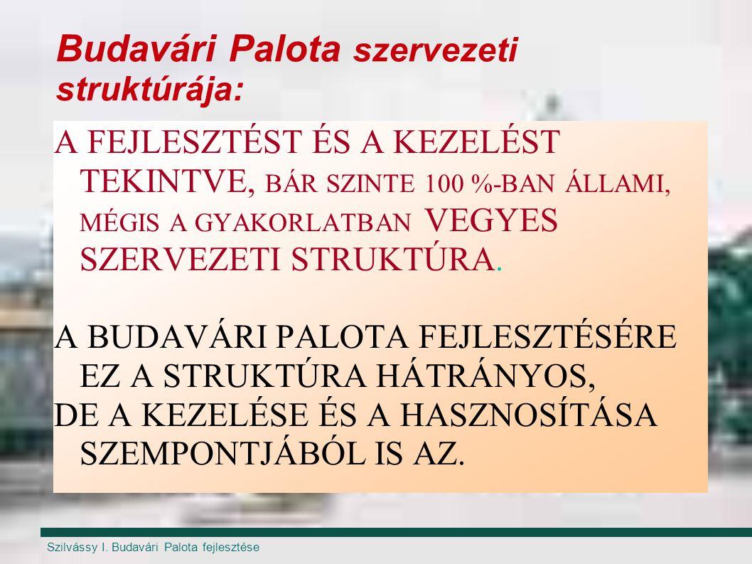 Szilvássy I. Budavári Palota fejlesztése Budavári Palota szervezeti struktúrája: A FEJLESZTÉST ÉS A KEZELÉST TEKINTVE, BÁR SZINTE 100 %-BAN ÁLLAMI, MÉ