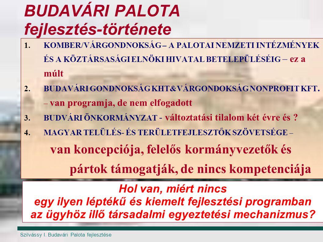 Szilvássy I. Budavári Palota fejlesztése BUDAVÁRI PALOTA fejlesztés-története 1.KOMBER/VÁRGONDNOKSÁG – A PALOTAI NEMZETI INTÉZMÉNYEK ÉS A KÖZTÁRSASÁGI