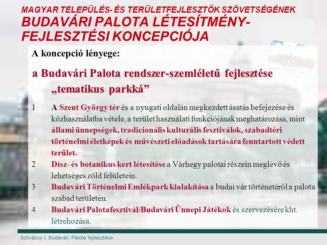 Szilvássy I. Budavári Palota fejlesztése MAGYAR TELEPÜLÉS- ÉS TERÜLETFEJLESZTŐK SZÖVETSÉGÉNEK BUDAVÁRI PALOTA LÉTESÍTMÉNY- FEJLESZTÉSI KONCEPCIÓJA A k