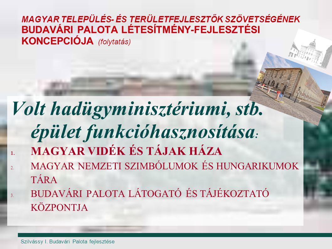 Szilvássy I. Budavári Palota fejlesztése MAGYAR TELEPÜLÉS- ÉS TERÜLETFEJLESZTŐK SZÖVETSÉGÉNEK BUDAVÁRI PALOTA LÉTESÍTMÉNY-FEJLESZTÉSI KONCEPCIÓJA (fol