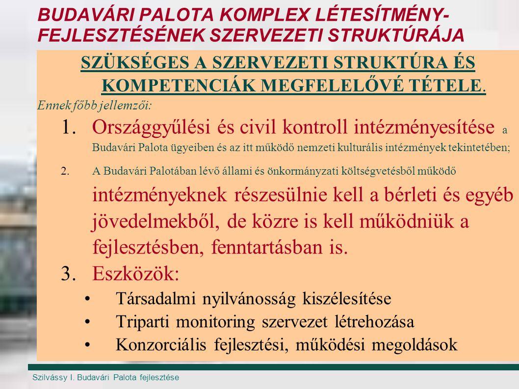 Szilvássy I. Budavári Palota fejlesztése BUDAVÁRI PALOTA KOMPLEX LÉTESÍTMÉNY- FEJLESZTÉSÉNEK SZERVEZETI STRUKTÚRÁJA SZÜKSÉGES A SZERVEZETI STRUKTÚRA É