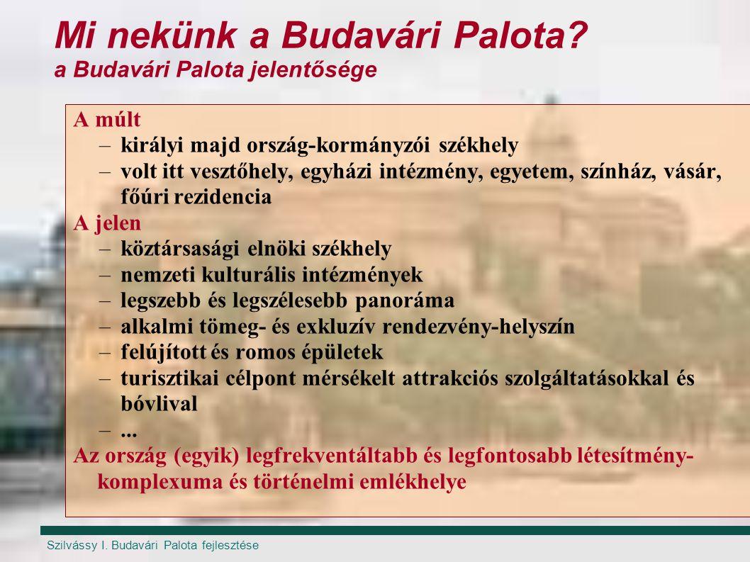 Szilvássy I. Budavári Palota fejlesztése Mi nekünk a Budavári Palota? a Budavári Palota jelentősége A múlt –királyi majd ország-kormányzói székhely –v