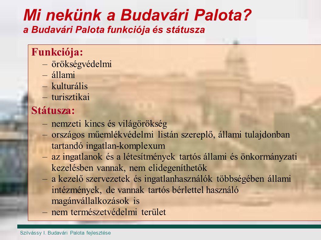 Szilvássy I. Budavári Palota fejlesztése Mi nekünk a Budavári Palota? a Budavári Palota funkciója és státusza Funkciója: –örökségvédelmi –állami –kult