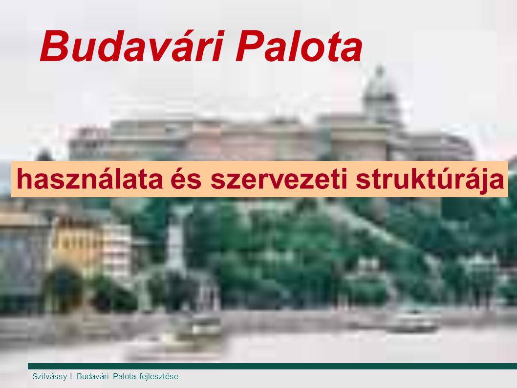 Szilvássy I. Budavári Palota fejlesztése Budavári Palota használata és szervezeti struktúrája