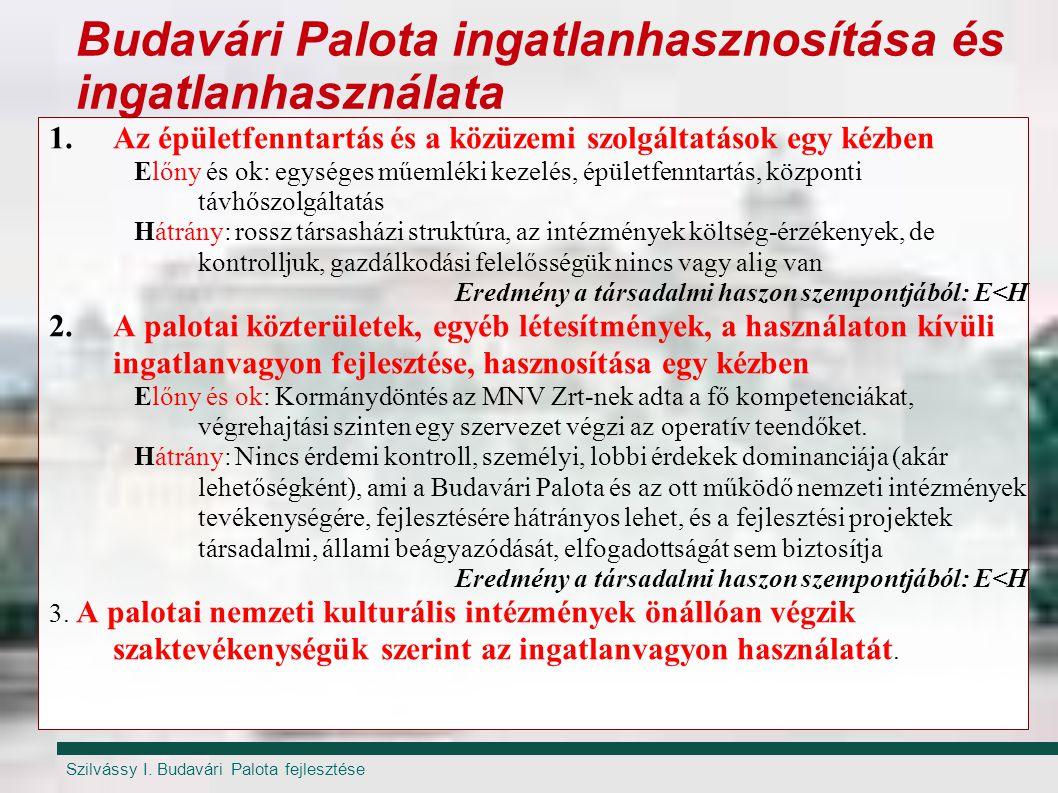 Szilvássy I. Budavári Palota fejlesztése Budavári Palota ingatlanhasznosítása és ingatlanhasználata 1.Az épületfenntartás és a közüzemi szolgáltatások