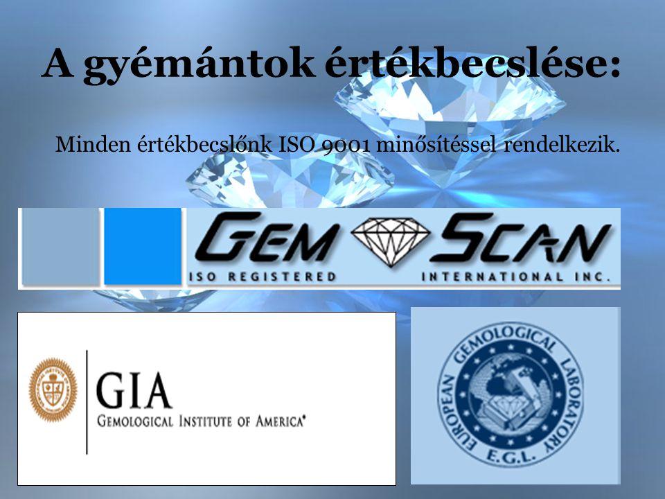 A gyémántok értékbecslése: Minden értékbecslőnk ISO 9001 minősítéssel rendelkezik.