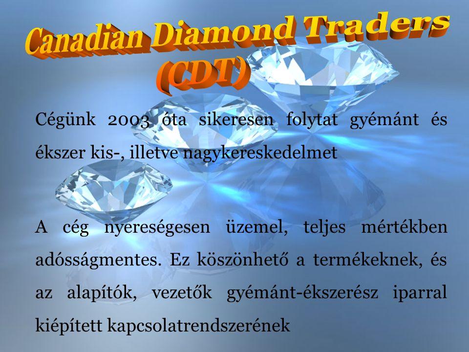 Cégünk 2003 óta sikeresen folytat gyémánt és ékszer kis-, illetve nagykereskedelmet A cég nyereségesen üzemel, teljes mértékben adósságmentes. Ez kösz