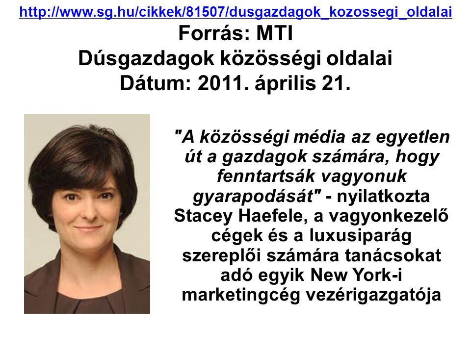 http://www.sg.hu/cikkek/81507/dusgazdagok_kozossegi_oldalai Forrás: MTI Dúsgazdagok közösségi oldalai Dátum: 2011.