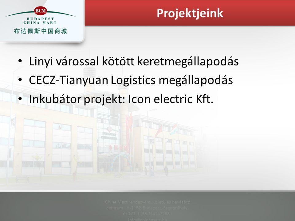 Linyi várossal kötött keretmegállapodás CECZ-Tianyuan Logistics megállapodás Inkubátor projekt: Icon electric Kft.