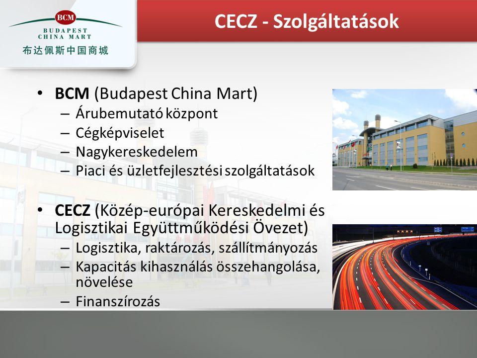 BCM (Budapest China Mart) – Árubemutató központ – Cégképviselet – Nagykereskedelem – Piaci és üzletfejlesztési szolgáltatások CECZ (Közép-európai Kereskedelmi és Logisztikai Együttműködési Övezet) – Logisztika, raktározás, szállítmányozás – Kapacitás kihasználás összehangolása, növelése – Finanszírozás CECZ - Szolgáltatások