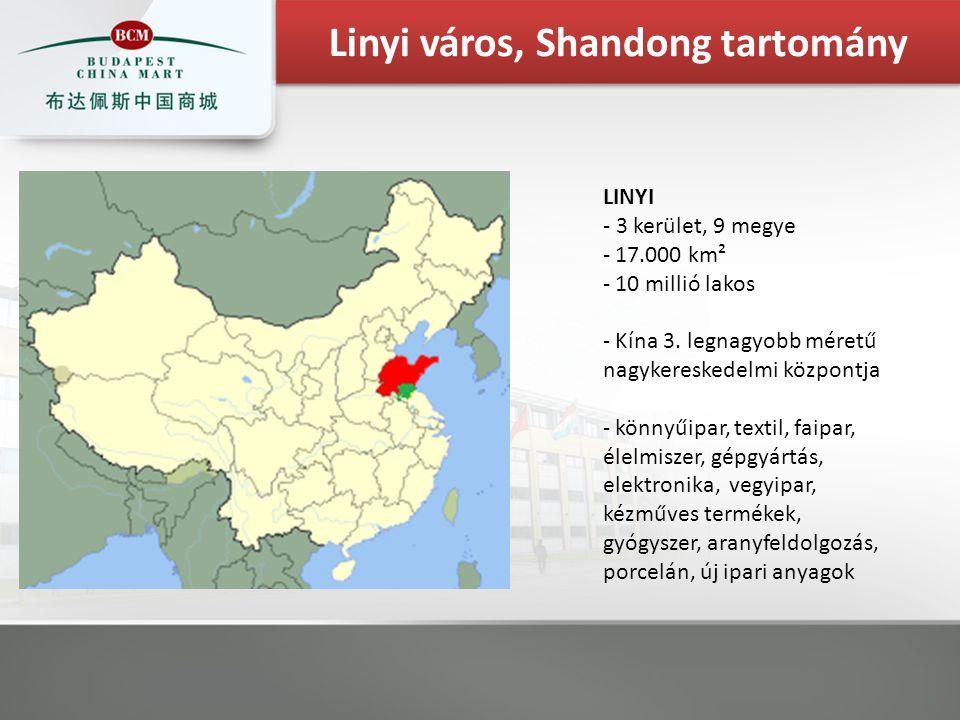 LINYI - 3 kerület, 9 megye - 17.000 km² - 10 millió lakos - Kína 3. legnagyobb méretű nagykereskedelmi központja - könnyűipar, textil, faipar, élelmis