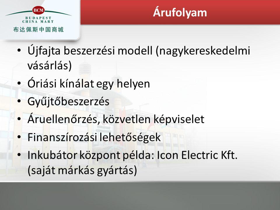 Újfajta beszerzési modell (nagykereskedelmi vásárlás) Óriási kínálat egy helyen Gyűjtőbeszerzés Áruellenőrzés, közvetlen képviselet Finanszírozási lehetőségek Inkubátor központ példa: Icon Electric Kft.