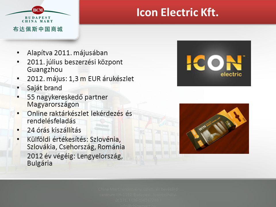 Alapítva 2011. májusában 2011. július beszerzési központ Guangzhou 2012. május: 1,3 m EUR árukészlet Saját brand 55 nagykereskedő partner Magyarország