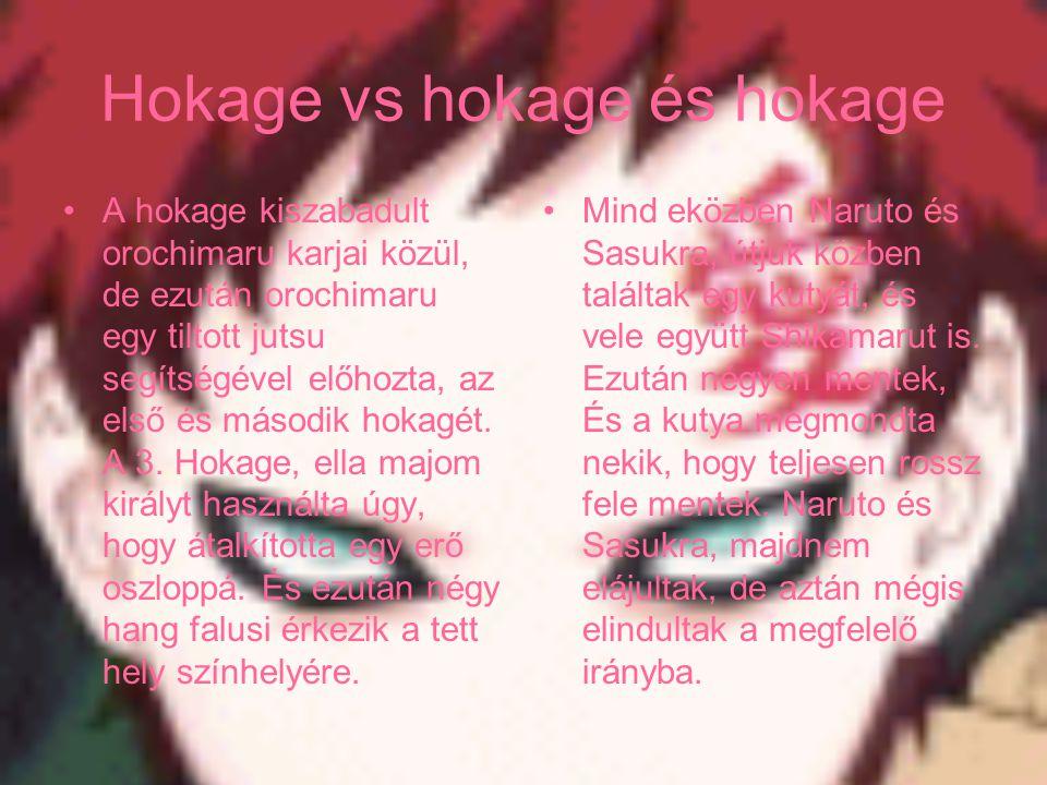 Hokage vs hokage és hokage A hokage kiszabadult orochimaru karjai közül, de ezután orochimaru egy tiltott jutsu segítségével előhozta, az első és máso