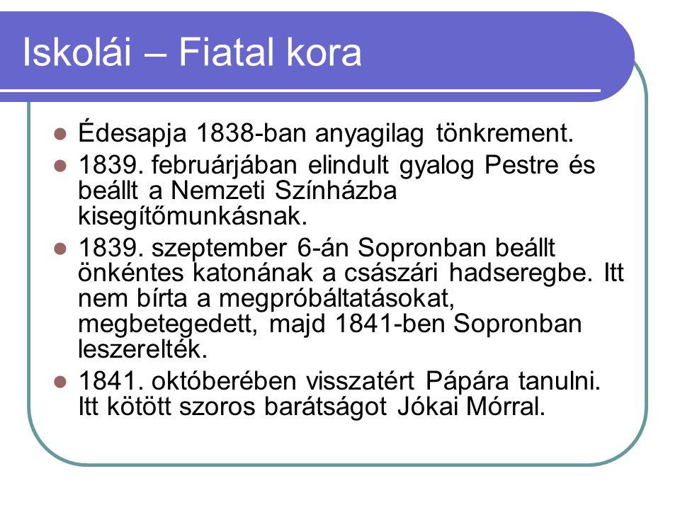 Iskolái – Fiatal kora Édesapja 1838-ban anyagilag tönkrement. 1839. februárjában elindult gyalog Pestre és beállt a Nemzeti Színházba kisegítőmunkásna
