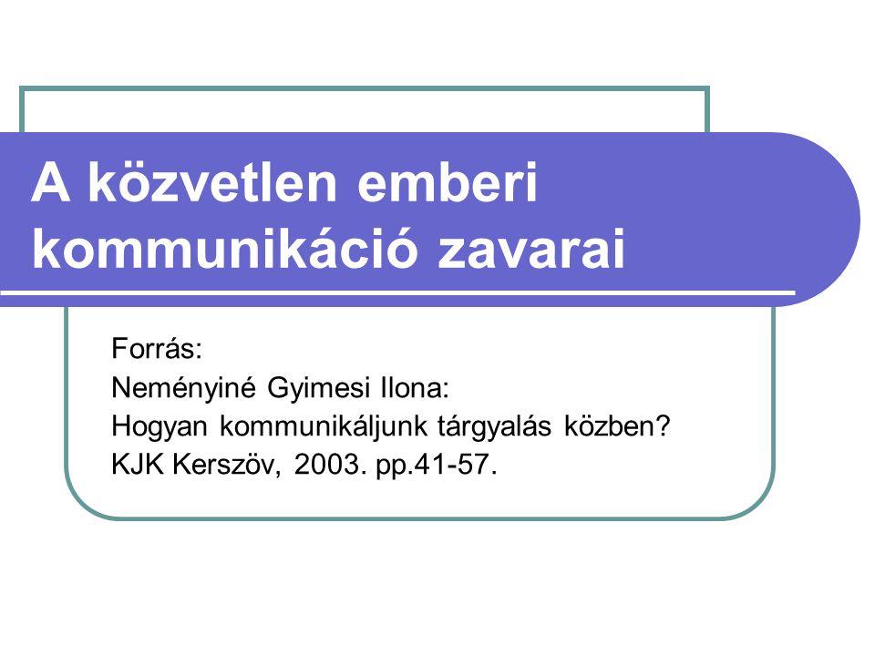 A közvetlen emberi kommunikáció zavarai Forrás: Neményiné Gyimesi Ilona: Hogyan kommunikáljunk tárgyalás közben.