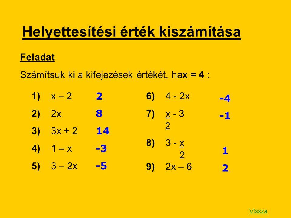Helyettesítési érték kiszámítása Feladat Számítsuk ki a kifejezések értékét, hax = 4 : 1) x – 2 2) 2x 3) 3x + 2 4) 1 – x 5) 3 – 2x 6) 4 - 2x 7) x - 3