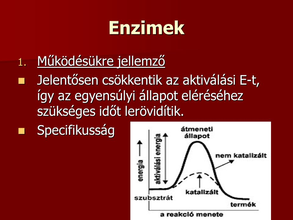 Enzimek 1. Működésükre jellemző Jelentősen csökkentik az aktiválási E-t, így az egyensúlyi állapot eléréséhez szükséges időt lerövidítik. Jelentősen c