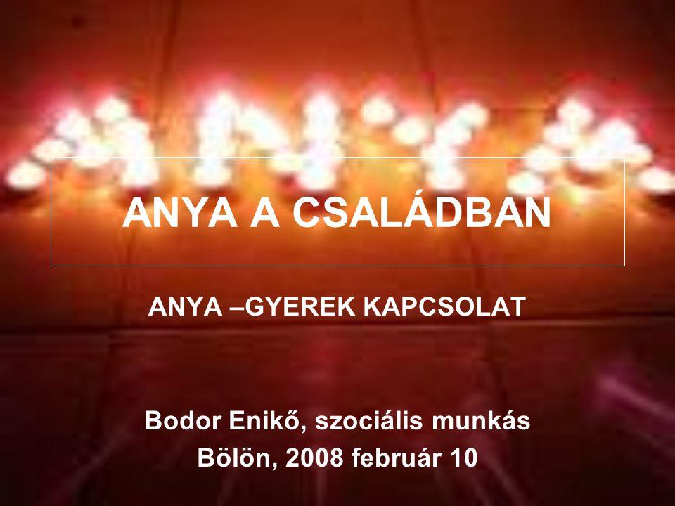 ANYA A CSALÁDBAN ANYA –GYEREK KAPCSOLAT Bodor Enikő, szociális munkás Bölön, 2008 február 10