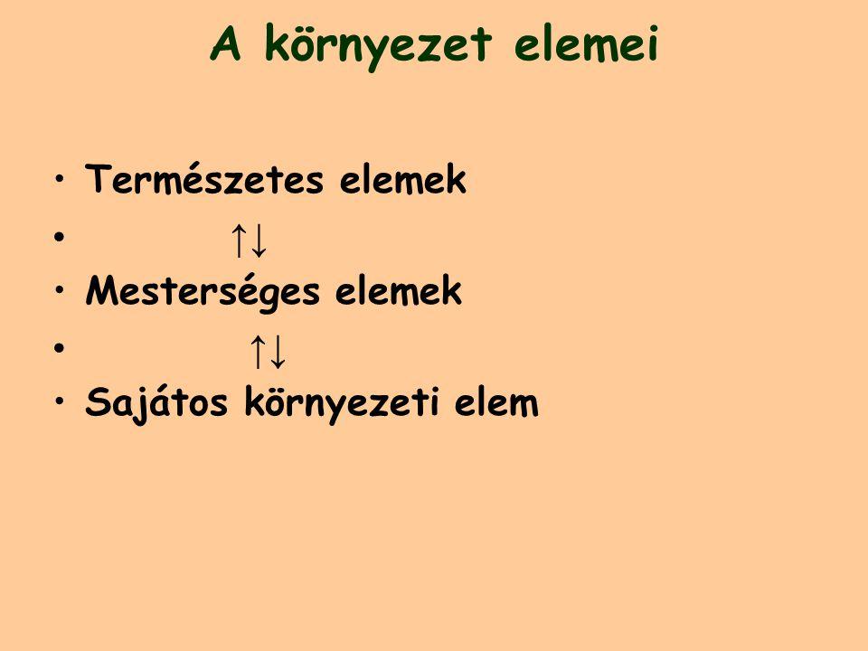 A környezet elemei Természetes elemek ↑↓ Mesterséges elemek ↑↓ Sajátos környezeti elem