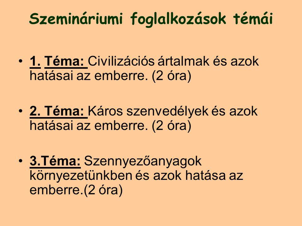 Szemináriumi foglalkozások témái 1.Téma: Civilizációs ártalmak és azok hatásai az emberre.