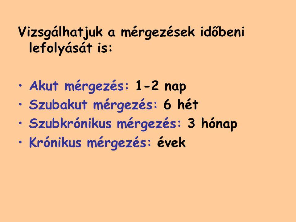 Vizsgálhatjuk a mérgezések időbeni lefolyását is: Akut mérgezés: 1-2 nap Szubakut mérgezés: 6 hét Szubkrónikus mérgezés: 3 hónap Krónikus mérgezés: évek