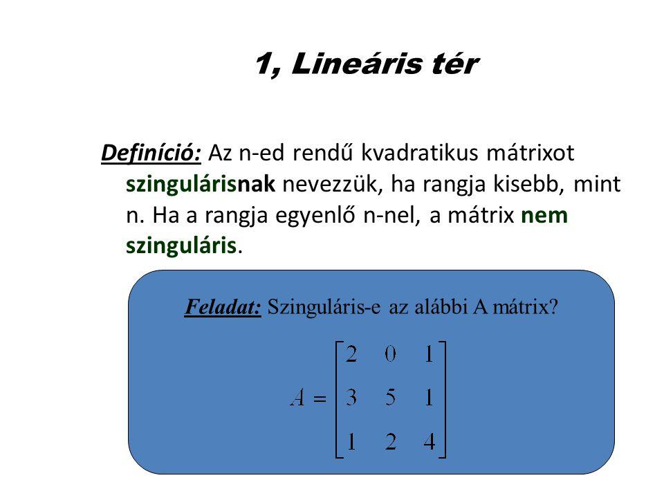 1, Lineáris tér Definíció: Az n-ed rendű kvadratikus mátrixot szingulárisnak nevezzük, ha rangja kisebb, mint n. Ha a rangja egyenlő n-nel, a mátrix n