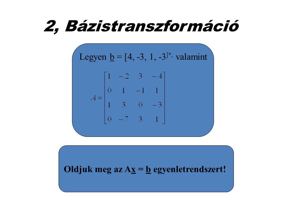 2, Bázistranszformáció Legyen b = [4, -3, 1, -3 ]*, valamint Oldjuk meg az Ax = b egyenletrendszert!