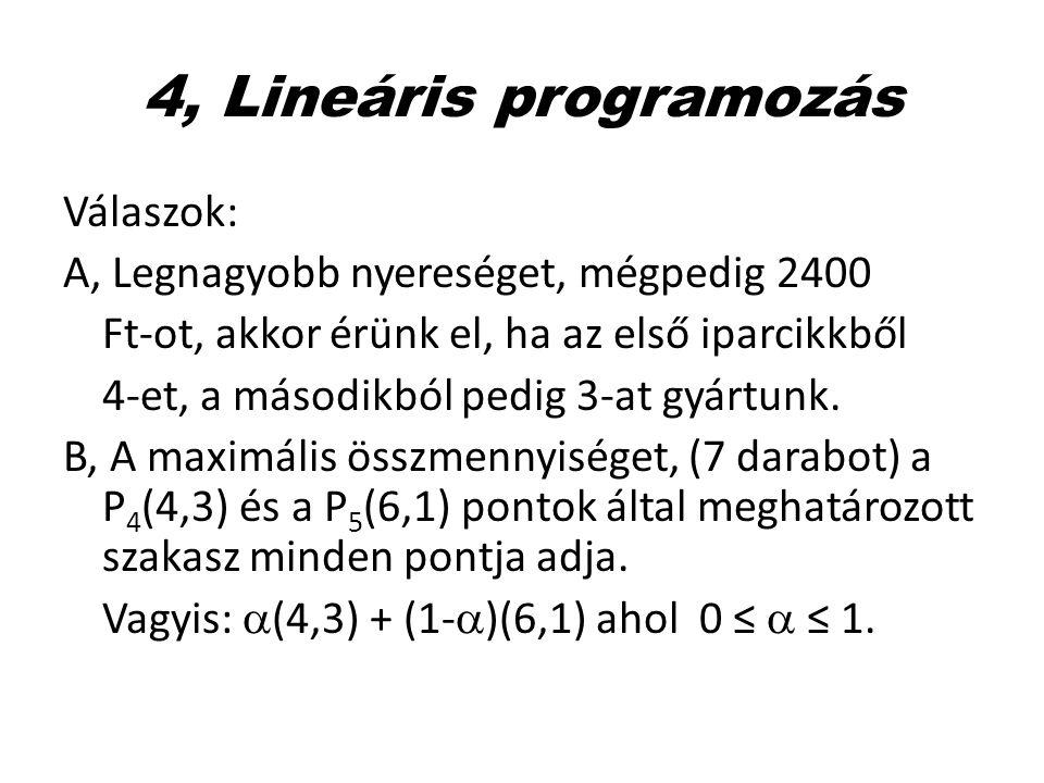 4, Lineáris programozás Válaszok: A, Legnagyobb nyereséget, mégpedig 2400 Ft-ot, akkor érünk el, ha az első iparcikkből 4-et, a másodikból pedig 3-at