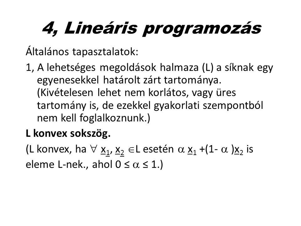 4, Lineáris programozás Általános tapasztalatok: 1, A lehetséges megoldások halmaza (L) a síknak egy egyenesekkel határolt zárt tartománya. (Kivételes