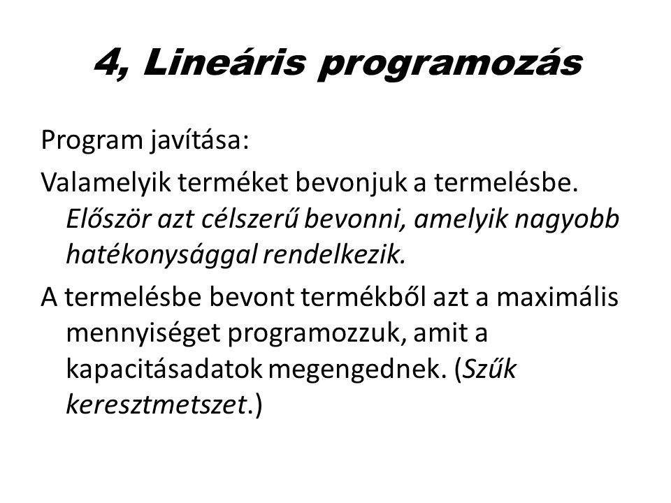 4, Lineáris programozás Program javítása: Valamelyik terméket bevonjuk a termelésbe. Először azt célszerű bevonni, amelyik nagyobb hatékonysággal rend