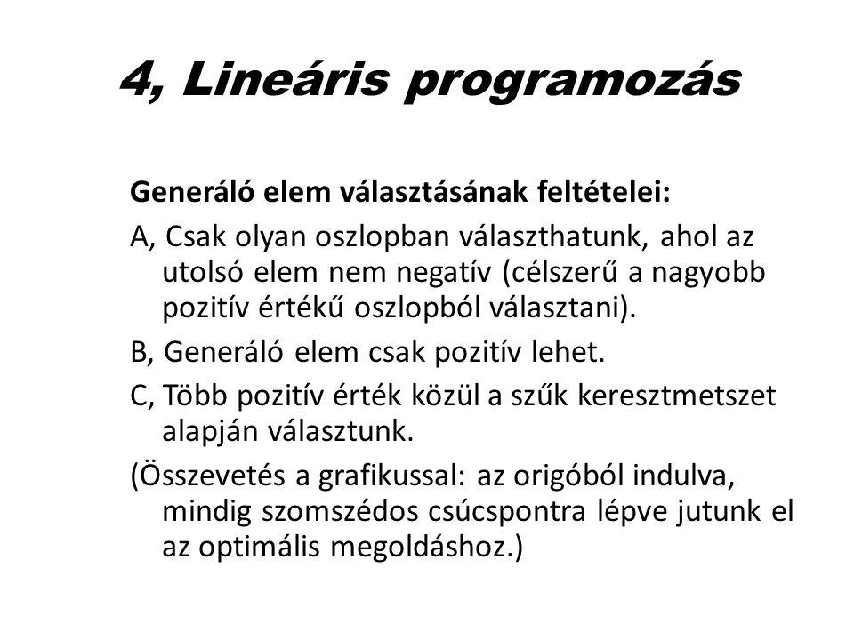 4, Lineáris programozás Generáló elem választásának feltételei: A, Csak olyan oszlopban választhatunk, ahol az utolsó elem nem negatív (célszerű a nag