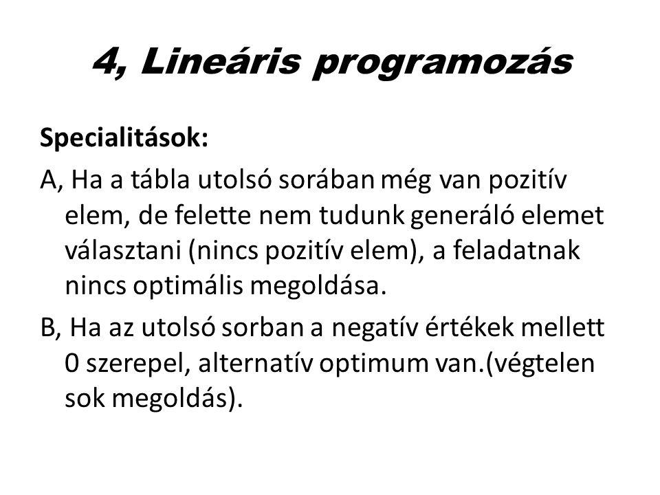 4, Lineáris programozás Specialitások: A, Ha a tábla utolsó sorában még van pozitív elem, de felette nem tudunk generáló elemet választani (nincs pozi