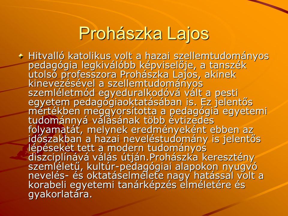 Prohászka Lajos Hitvalló katolikus volt a hazai szellemtudományos pedagógia legkiválóbb képviselője, a tanszék utolsó professzora Prohászka Lajos, aki
