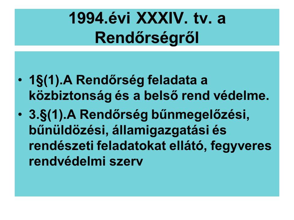 1994.évi XXXIV. tv. a Rendőrségről 1§(1).A Rendőrség feladata a közbiztonság és a belső rend védelme. 3.§(1).A Rendőrség bűnmegelőzési, bűnüldözési, á