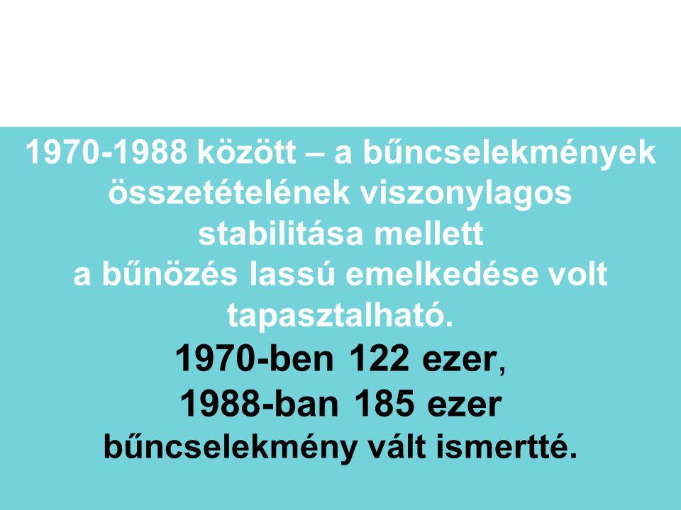 1970-1988 között – a bűncselekmények összetételének viszonylagos stabilitása mellett a bűnözés lassú emelkedése volt tapasztalható. 1970-ben 122 ezer,