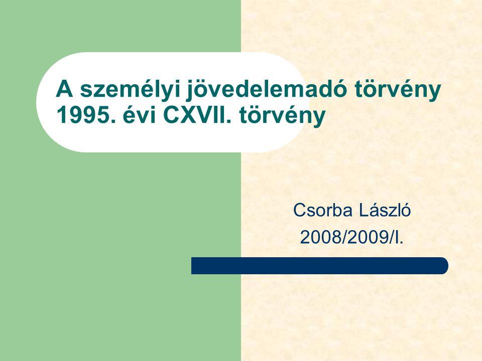 A személyi jövedelemadó törvény 1995. évi CXVII. törvény Csorba László 2008/2009/I.