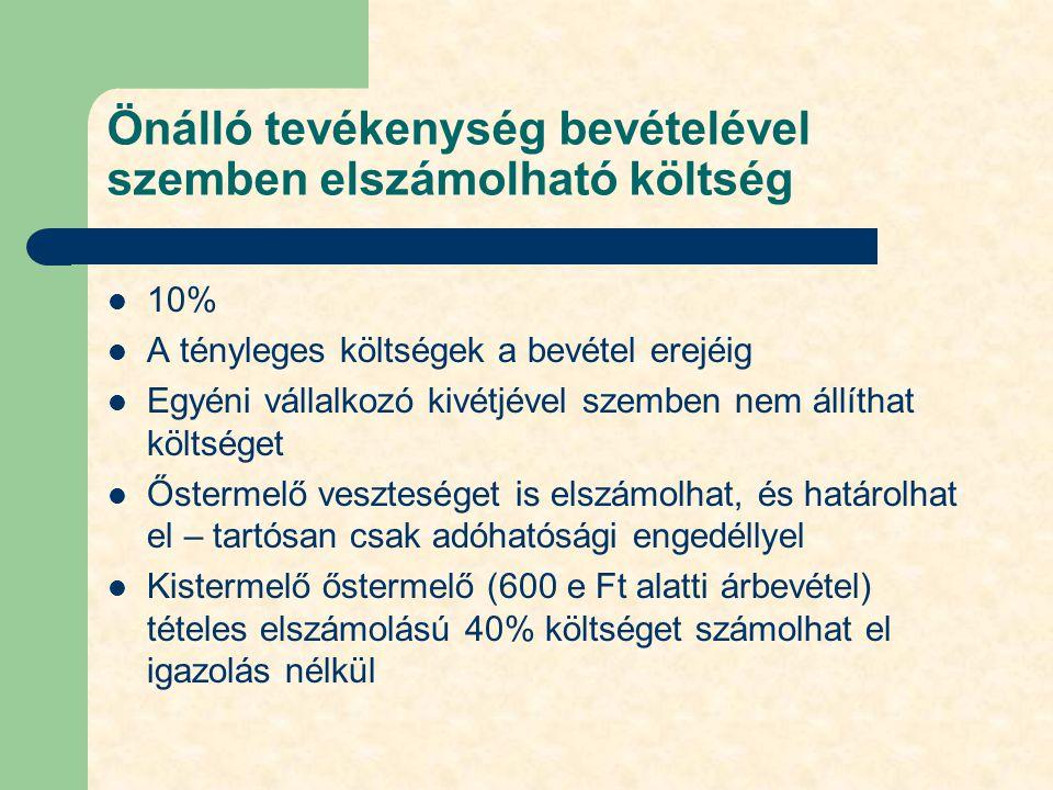 Önálló tevékenység bevételével szemben elszámolható költség 10% A tényleges költségek a bevétel erejéig Egyéni vállalkozó kivétjével szemben nem állít