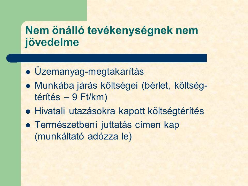 Nem önálló tevékenységnek nem jövedelme Üzemanyag-megtakarítás Munkába járás költségei (bérlet, költség- térítés – 9 Ft/km) Hivatali utazásokra kapott