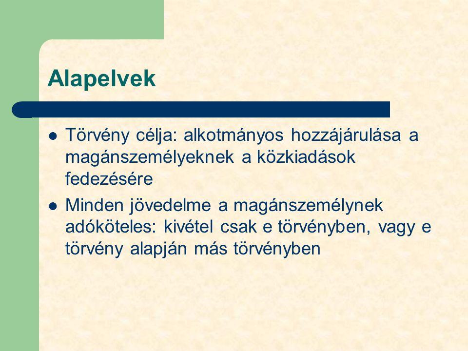 """A törvény hatálya Személyi: magánszemélyekre terjed ki, de bizonyos esetekben nem magánszemély kifizetőkre(munkáltatókra) is: adó, adóelőleg levonása és befizetése – Minden magánszemélyre, akárhogy teljesíti könyvvezetését, bármilyen vállalkozói is – Minden magyar állampolgárra, + itt hivatalosan, vagy nem itt tartózkodó, """"létérdek központú külföldi állampolgárokra Időbeli: adóévben ténylegesen realizálódott (megszerzett) jövedelem (nem önálló tevékenységnél tárgyév + 15 nap) Térbeli: Magyarországon megszerzett, vagy nemzetközi szerződések alapján itt adózandó jövedelem – Teljes körű adókötelezettség (minden belföldi jövedelem) – Korlátozott adókötelezettség (itt adózandó külföldről származó) – Munkavégzés helye: belföld – Vállalkozási tevékenység helye: belföldi telephely"""