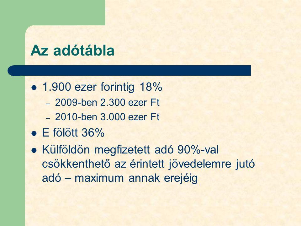 Az adótábla 1.900 ezer forintig 18% – 2009-ben 2.300 ezer Ft – 2010-ben 3.000 ezer Ft E fölött 36% Külföldön megfizetett adó 90%-val csökkenthető az é