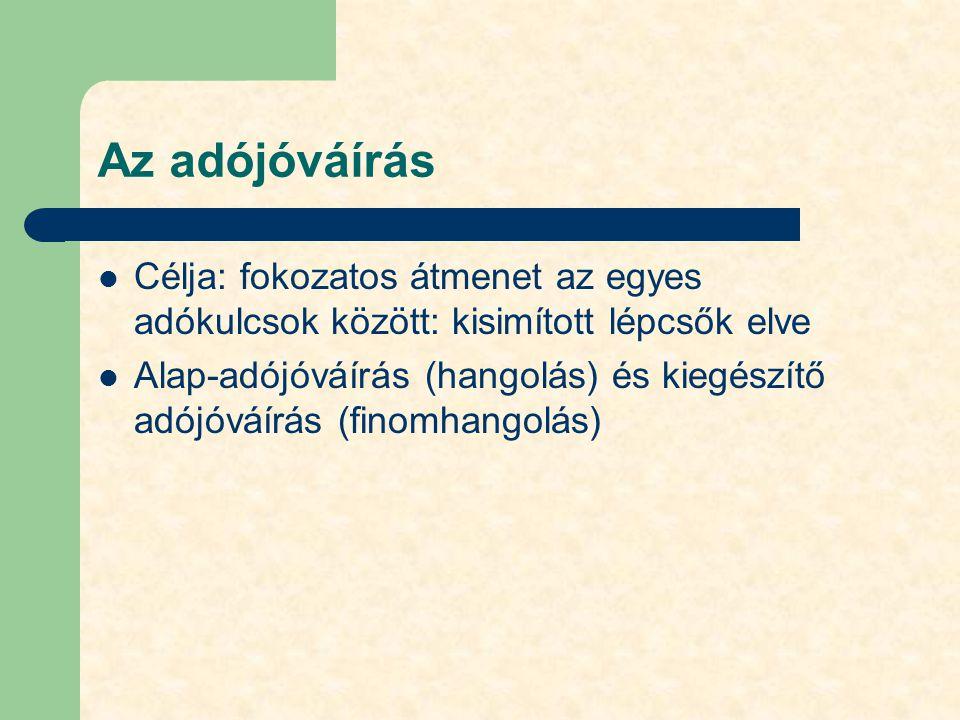 Az adójóváírás Célja: fokozatos átmenet az egyes adókulcsok között: kisimított lépcsők elve Alap-adójóváírás (hangolás) és kiegészítő adójóváírás (fin