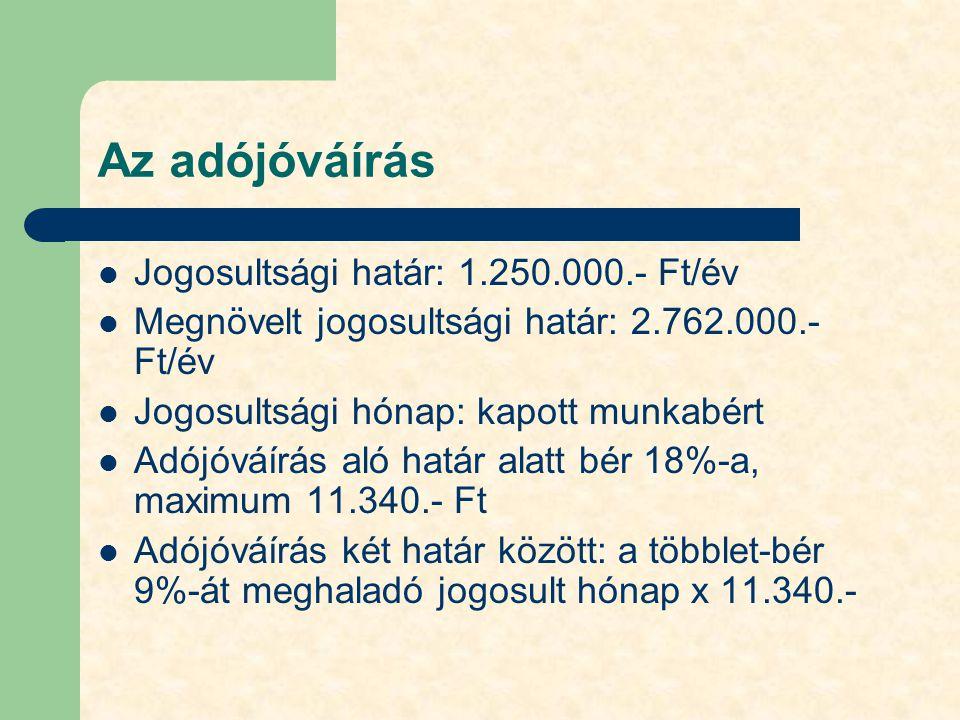 Az adójóváírás Jogosultsági határ: 1.250.000.- Ft/év Megnövelt jogosultsági határ: 2.762.000.- Ft/év Jogosultsági hónap: kapott munkabért Adójóváírás