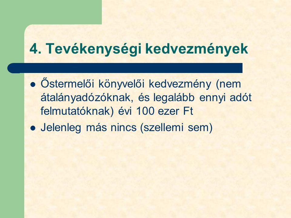 4. Tevékenységi kedvezmények Őstermelői könyvelői kedvezmény (nem átalányadózóknak, és legalább ennyi adót felmutatóknak) évi 100 ezer Ft Jelenleg más