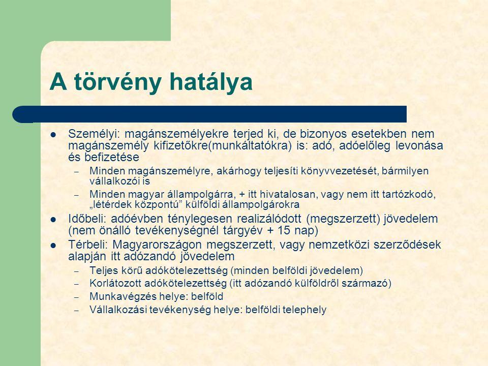 A törvény hatálya Személyi: magánszemélyekre terjed ki, de bizonyos esetekben nem magánszemély kifizetőkre(munkáltatókra) is: adó, adóelőleg levonása