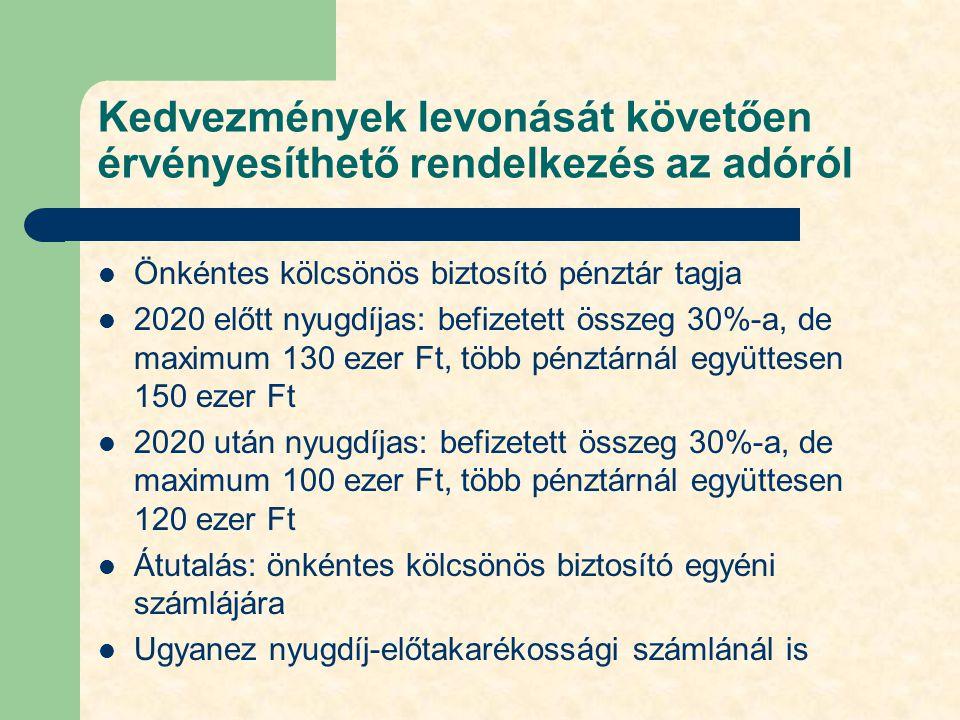 Kedvezmények levonását követően érvényesíthető rendelkezés az adóról Önkéntes kölcsönös biztosító pénztár tagja 2020 előtt nyugdíjas: befizetett össze