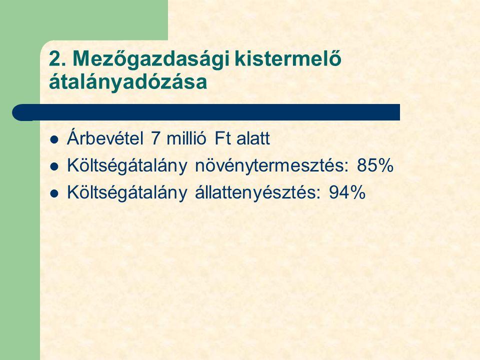 2. Mezőgazdasági kistermelő átalányadózása Árbevétel 7 millió Ft alatt Költségátalány növénytermesztés: 85% Költségátalány állattenyésztés: 94%