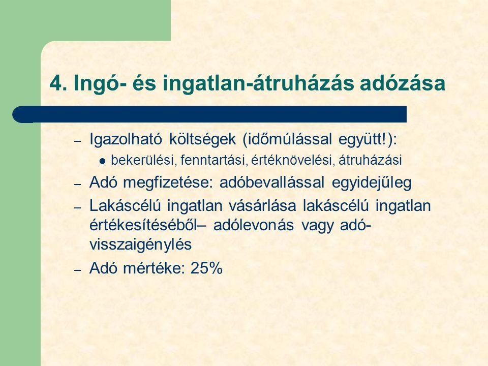 4. Ingó- és ingatlan-átruházás adózása – Igazolható költségek (időmúlással együtt!): bekerülési, fenntartási, értéknövelési, átruházási – Adó megfizet